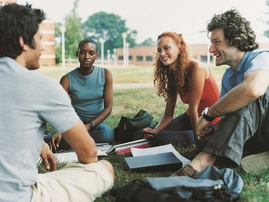 college students in park